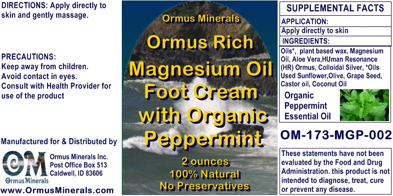 Ormus Minerals Ormus Rich Magnesium Oil Foot Cream with Organic Peppermint