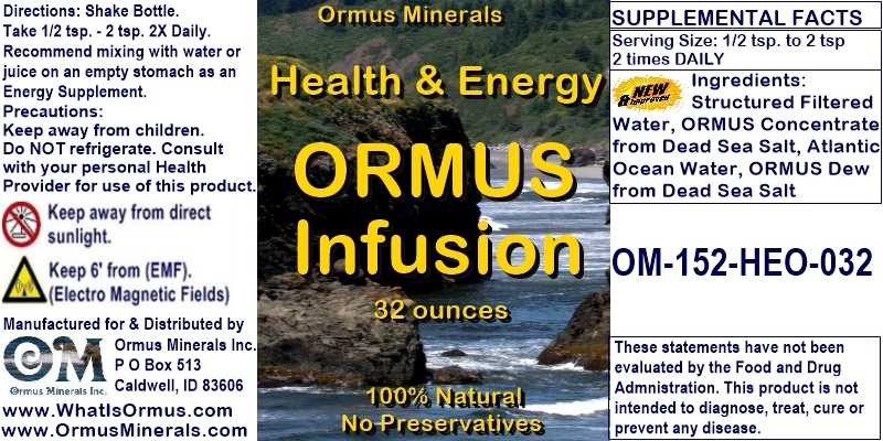 Ormus Minerals - Health and Energy ORMUS Infusion